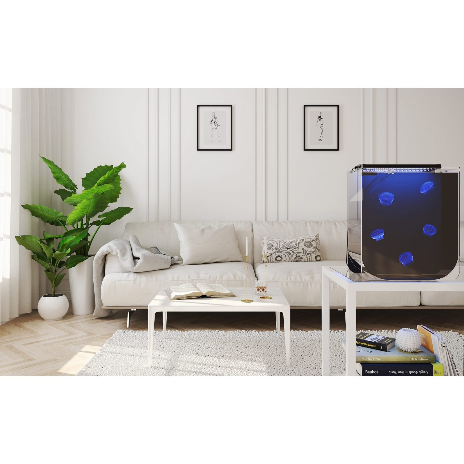 Medusa Mini Jellyfish Aquarium in modern room scene